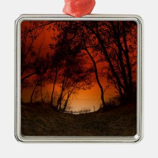 Sunset over Lake Michigan dunes Metal Ornament
