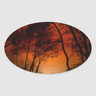Sunset over Lake Michigan dunes Oval Sticker
