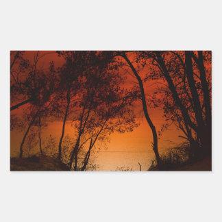 Sunset over Lake Michigan dunes Rectangular Sticker