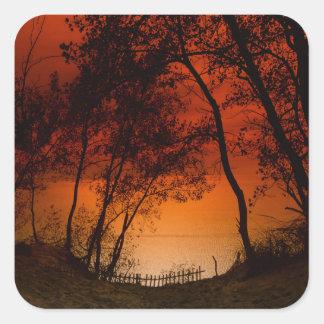 Sunset over Lake Michigan dunes Square Sticker