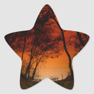 Sunset over Lake Michigan dunes Star Sticker