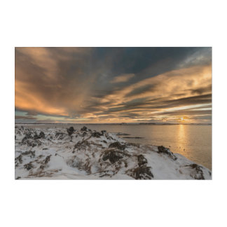 Sunset over lake Myvatn, Iceland Acrylic Wall Art