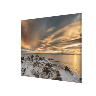 Sunset over lake Myvatn, Iceland Canvas Print