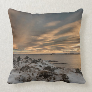 Sunset over lake Myvatn, Iceland Throw Pillow