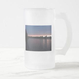 Sunset Over Lake Swan, Georgia Frosted Glass Beer Mug