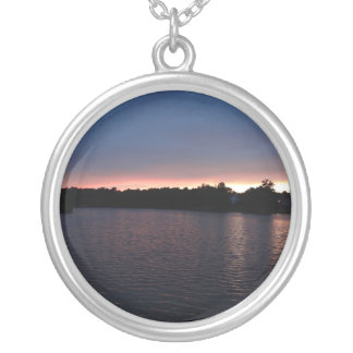 Sunset Over Lake Swan, Georgia Round Pendant Necklace