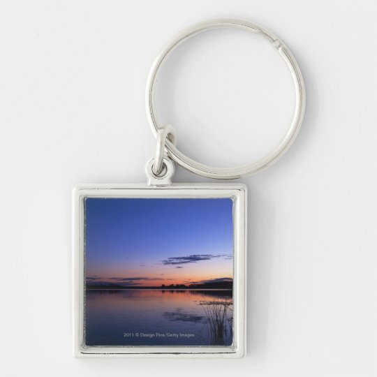 Sunset Over Lake Wabamun With Grass Keychain