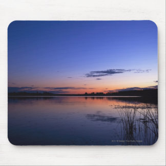 Sunset Over Lake Wabamun With Grass Mouse Pad