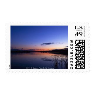 Sunset Over Lake Wabamun With Grass Postage