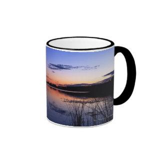 Sunset Over Lake Wabamun With Grass Ringer Mug