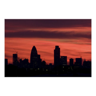 Sunset over London Poster