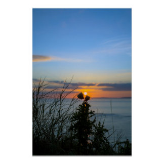 sunset over loop head with silhouetted wild tall t poster