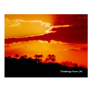 Sunset over Los Angeles California Postcard