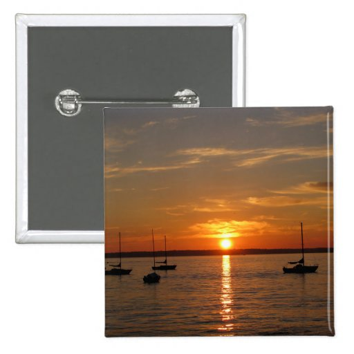 Sunset Over Lummi Island Buttons
