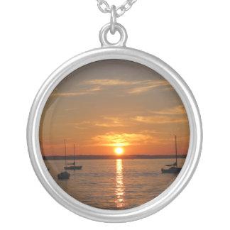 Sunset Over Lummi Island Round Pendant Necklace