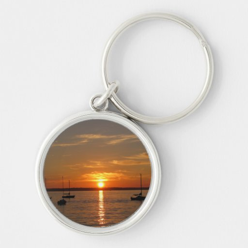 Sunset Over Lummi Island Silver-Colored Round Keychain