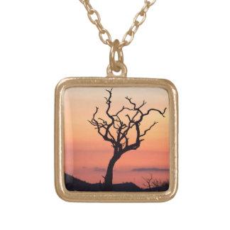 Sunset over Madikwe Square Pendant Necklace