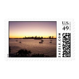 Sunset Over Miami Postage Stamp