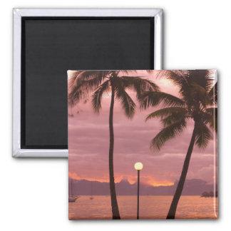 Sunset over Moorea from Sofitel Maeva Beach 2 Inch Square Magnet