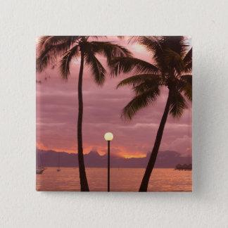 Sunset over Moorea from Sofitel Maeva Beach Pinback Button