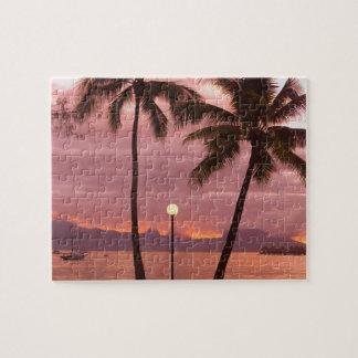 Sunset over Moorea from Sofitel Maeva Beach Puzzle