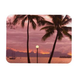 Sunset over Moorea from Sofitel Maeva Beach Rectangular Photo Magnet