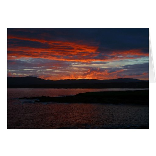 sunset over mountain greeting card
