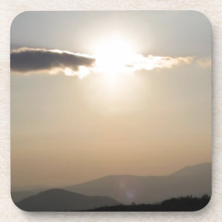 Sunset over mountains beverage coaster