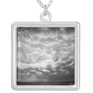 Sunset over ocean square pendant necklace