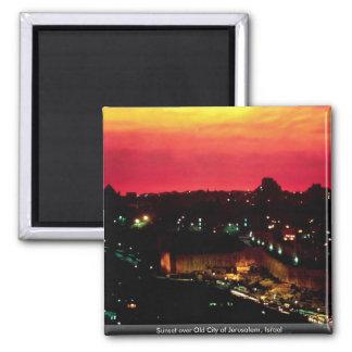 Sunset over Old City of Jerusalem, Israel 2 Inch Square Magnet