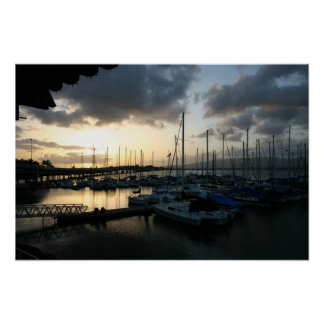 Sunset Over Pearl Harbor Marina Poster