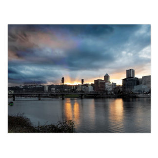 Sunset Over Portland Oregon Downtown City Postcard
