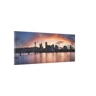 Sunset Over Portland Oregon Waterfront Panorama Canvas Print