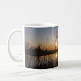 Sunset over Quarry Lake, through trees Coffee Mug