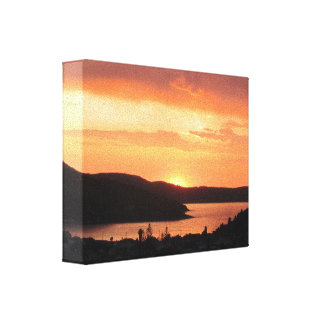 Sunset over Sea and Mountains Canvas Print