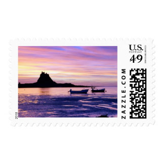 Sunset over sea postage
