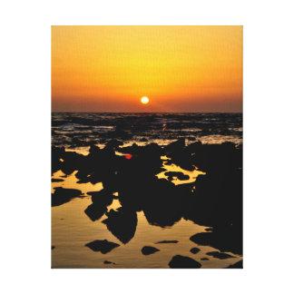 Sunset over sea rocks - Landcape on Canvas