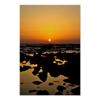 Sunset over sea rocks - Landcape Poster