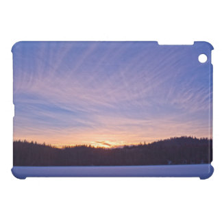 Sunset over Snow-covered Winter Lake & Trees Case For The iPad Mini