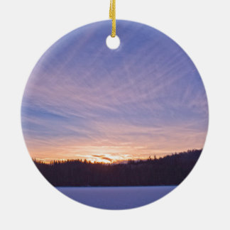 Sunset over Snow-covered Winter Lake & Trees Ceramic Ornament