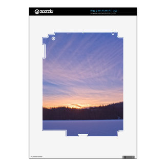 Sunset over Snow-covered Winter Lake & Trees Decals For iPad 2