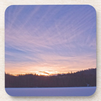 Sunset over Snow-covered Winter Lake & Trees Drink Coaster