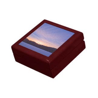 Sunset over Snow-covered Winter Lake & Trees Keepsake Box