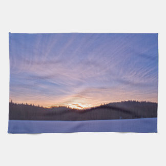 Sunset over Snow-covered Winter Lake & Trees Kitchen Towels