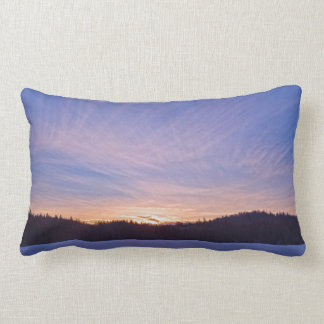 Sunset over Snow-covered Winter Lake & Trees Lumbar Pillow