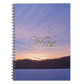Sunset over Snow-covered Winter Lake & Trees Notebook