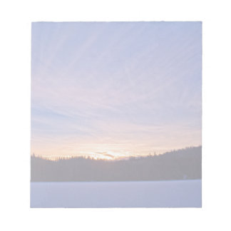 Sunset over Snow-covered Winter Lake & Trees Notepad