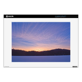 Sunset over Snow-covered Winter Lake & Trees Decals For Laptops