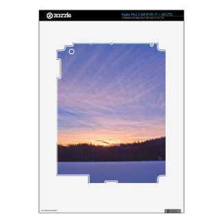 Sunset over Snow-covered Winter Lake & Trees Decal For iPad 3