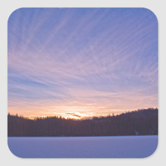 Sunset over Snow-covered Winter Lake & Trees Square Sticker